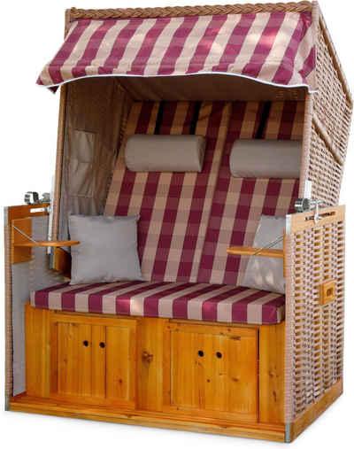 normani Strandkorb »Premium Strandkorb 2-Sitzer«, BxTxH: 115x80x160 cm, Premium Qualität – inklusive Abdeckhaube