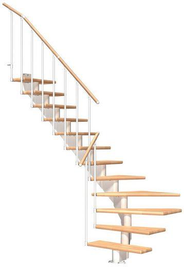 Dolle Mittelholmtreppe »Hamburg Buche 85«, für Geschosshöhen bis 322 cm, Stufen offen, Metallgeländer, versch. Ausführungen