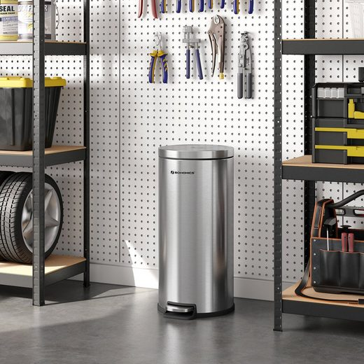 SONGMICS Mülleimer »LTB006E01 LTB006W01«, Abfalleimer aus Edelstahl, 30 Liter, mit Pedal und Deckel, silbern