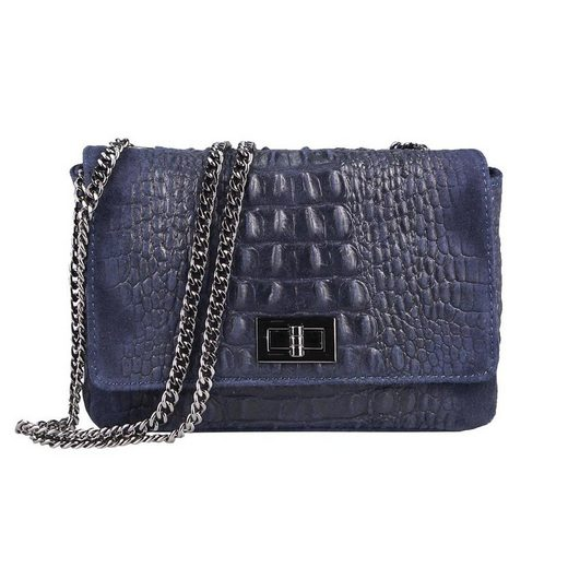 ITALYSHOP24 Schultertasche »Made in Italy Damen Leder Tasche CrossOver«, mit Kroko Prägung & Kette, als Clutch, Umhängetasche tragbar
