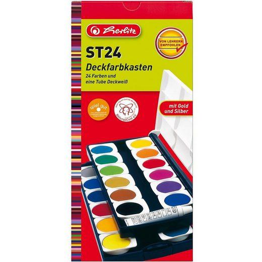Herlitz Malpalette »Deckfarbkasten, 24 Farben inkl. Deckweiß«