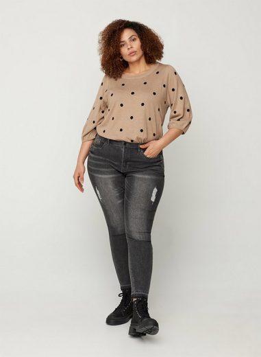 Zizzi Slim-fit-Jeans Große Größen Damen Super Slim Jeans mit hoher Taille und Schlitz