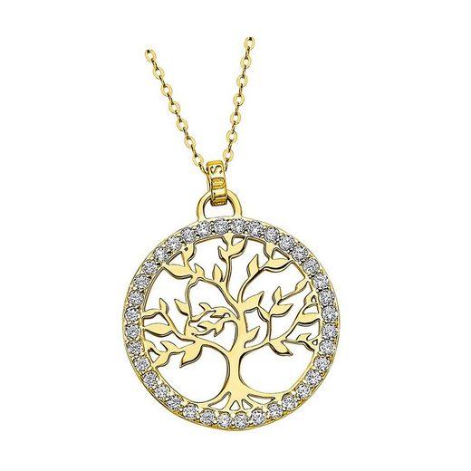 LOTUS SILVER Silberkette »JLP1746-1-2 Lotus Silver Lebensbaum Halskette« (Halsketten), Damen Kette Lebensbaum aus 925 Sterling Silber, gold