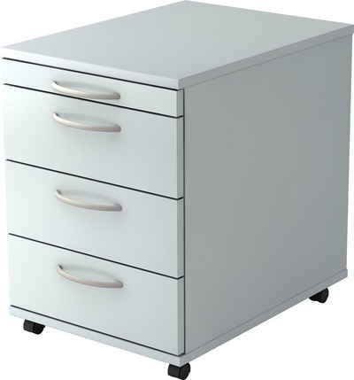 bümö Rollcontainer »OM-1606«, ohne Schloss mit 4 Schubladen - Bürocontainer, Container fürs Büro - Dekor: Grau