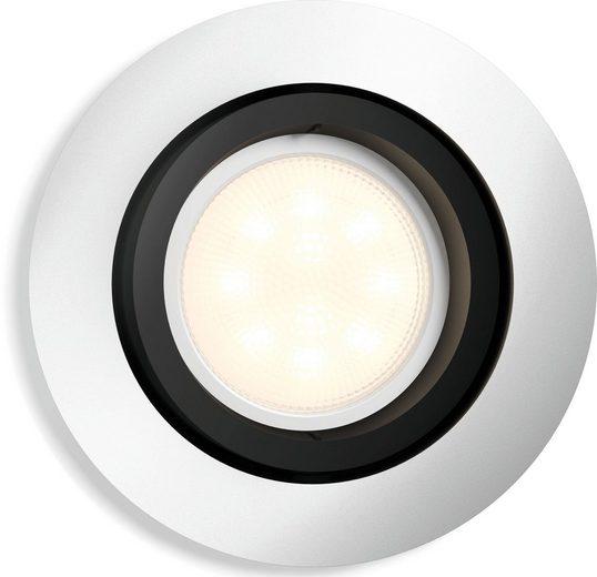 Philips Hue LED Einbaustrahler »Philips Hue White Amb. Milliskin Einbauspot eckig«, steuerbar per Bluetooth oder Hue Bridge, 4 vorprogrammierte Lichtszenee, Lichtfarbe 2200-6500 Kelvin, Erweiterungsset ohne Dimmschalter