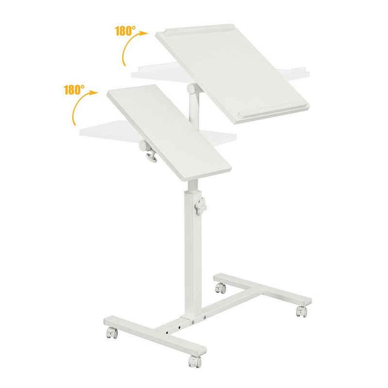SoBuy Laptoptisch »FBT07N6«, Pflegetisch Notebooktisch Laptopständer mit Stopper Betttisch Beistelltisch Sofatisch mit Rollen höhenverstellbar