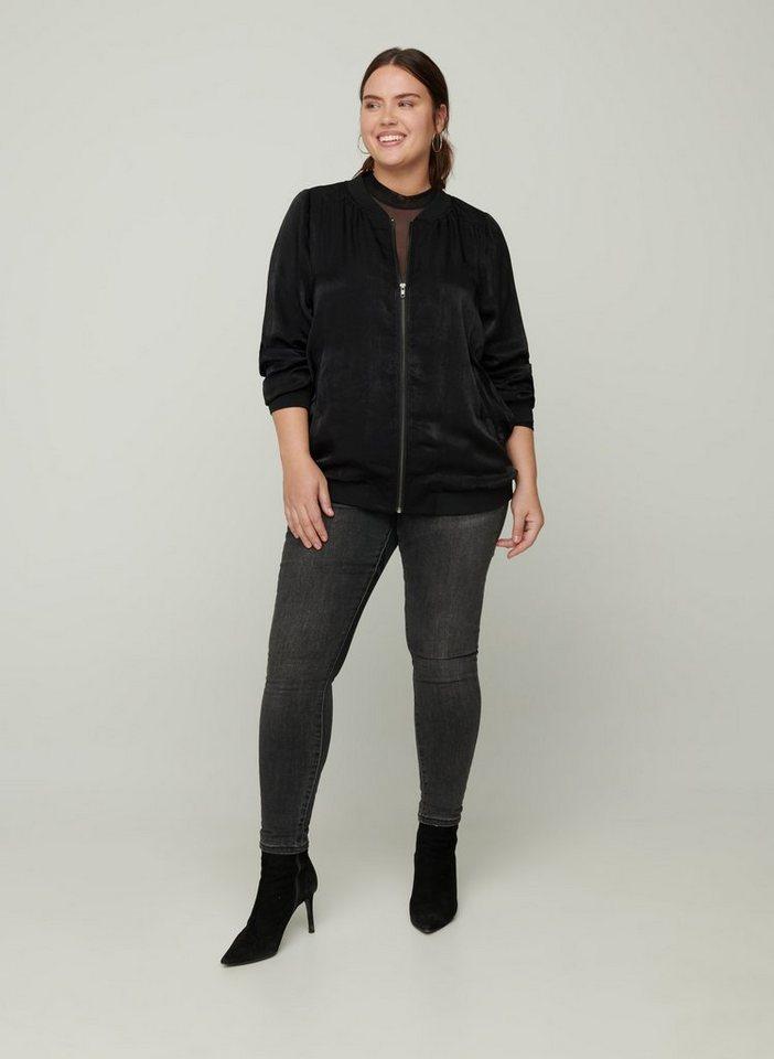 zizzi -  Bomberjacke Große Größen Damen Jacke mit Reißverschluss, Taschen und Rippbündchen
