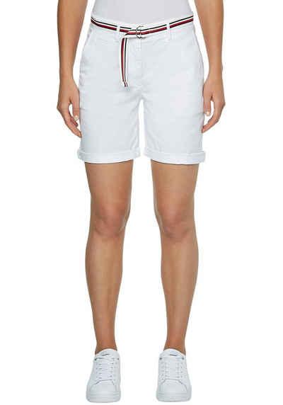 Tommy Hilfiger Shorts »CO TENCEL SLIM SHORT« zum krempeln mit Gürtel in den typischen Tommy Streifen