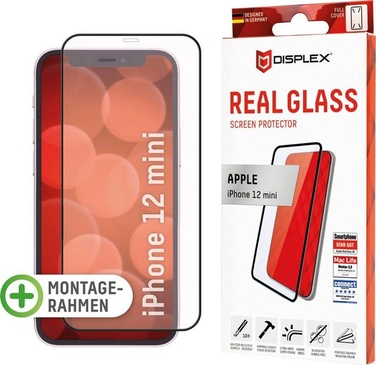 Displex »DISPLEX Real Glass Panzerglas für Apple iPhone 12 mini (5,4), 10H Tempered Glass, mit Montagerahmen, Full Cover« für Apple iPhone 12 Mini, Displayschutzglas