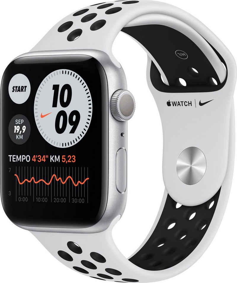 Apple Nike Series 6 GPS, Aluminiumgehäuse mit Nike Sportarmband 44mm Watch (Watch OS), inkl. Ladestation (magnetisches Ladekabel)