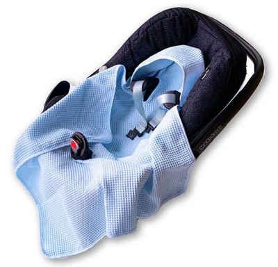 Babydecke »Einschlagdecke Waffelstoff Baumwolle Waffelpiqué für Babyschale Autositz, Maxi-Cosi, Sommer Decke Sommerdecke dünn blau«, BABEES