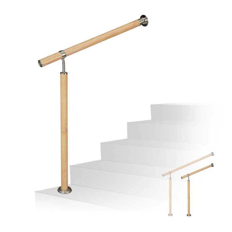 relaxdays Außentreppe »Treppengeländer Holzoptik«