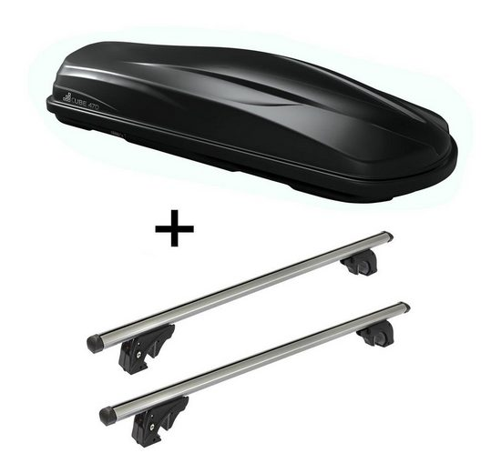 VDP Fahrradträger, Dachbox/Gepäckbox CUBE470 + Dachträger/Relingträger VDPLION2 kompatibel mit Toyota Land Cruiser (3-5 Türer) ab 09