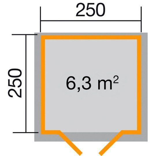 Weka Gartenhaus Gr.1, BxT: 250x250 cm, inkl. Fußboden