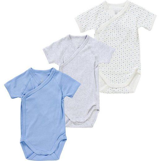 Petit Bateau Wickelbody »Baby Kurzarmwickelbody 3er Pack, Organic Cotton«