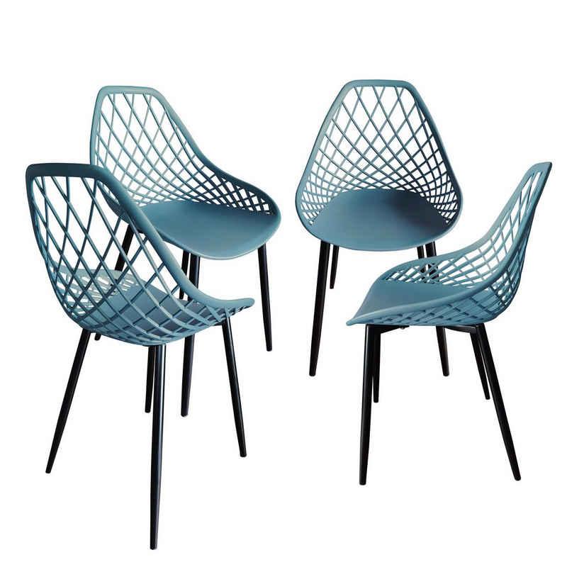 TRISENS Gartenstuhl (4 Stück), 2er 4er Set Kunststoffstuhl Küchenstuhl Esszimmerstuhl Gartenstuhl Stuhl Wartezimmerstuhl