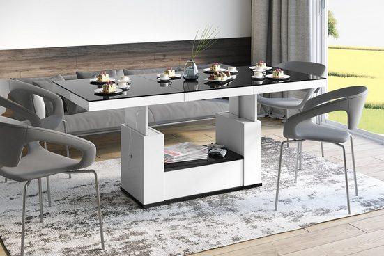 designimpex Couchtisch »Design Couchtisch Tisch HM-111 Schwarz / Weiß Hochglanz Schublade höhenverstellbar ausziehbar Esstisch«
