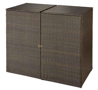 HANSE GARTENLAND Mülltonnenbox, für 2x240 l aus Polyrattan, BxTxH: 150x78x123 cm