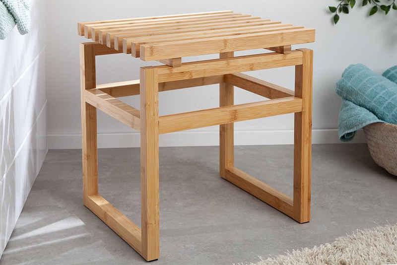 riess-ambiente Hocker »LAGOON SPA 40cm natur«, Massivholz · Sitzhocker · Badezimmer · Holzhocker · Bambus