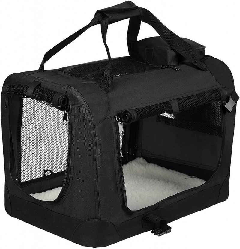 EUGAD Tiertransporttasche »0109HT«, Hundebox faltbar Hundetransportbox Auto Transportbox Reisebox Katzenbox Schwarz