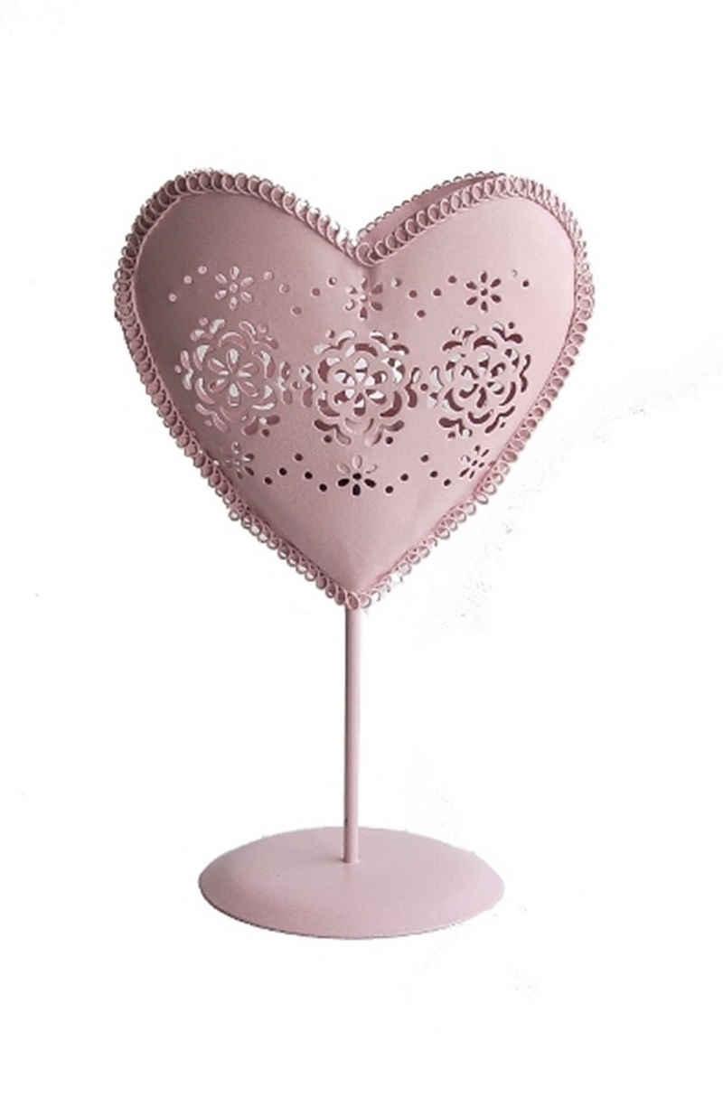 elbmöbel Teelichthalter »Kerzenhalter Metall herz rosa«, Teelichthalter: 15x23x10 cm romantic roses rosa