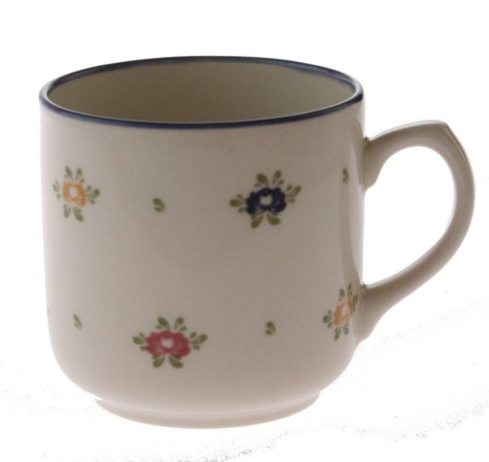 Zeller Keramik Kaffeebecher mit Henkel »Petite Rose« in Creme