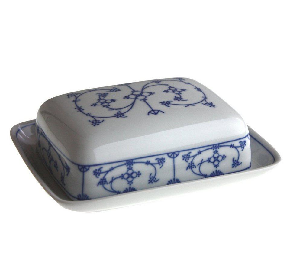 Kahla Butterdose eckig »Blau Saks« in Weiß