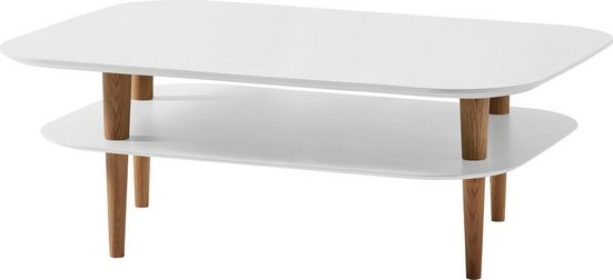SCHÖNER WOHNEN-Kollektion Couchtisch »DIMARO«, mit Ablage, in abgerundeter Rechteck-Form, Füße Echtholz Eiche Massiv