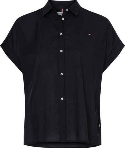 Tommy Hilfiger Kurzarmbluse »Cotton Voile Relaxed Shirt SS« mit Tommy Hilfiger Logo-Flag auf der Brust