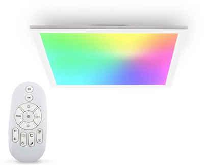 B.K.Licht Deckenleuchte, LED Panel, Farbtemperatur, stufenlos einstellbar, 450x450x42mm, 7 Farben, Ultra Flach, Dimmbar, Fernbedienung
