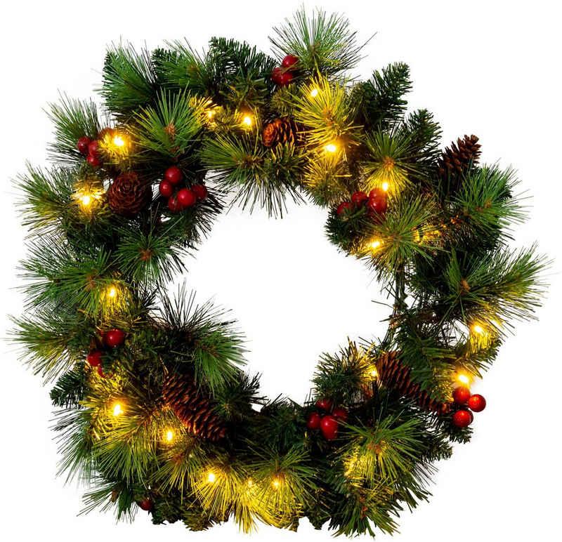 näve LED-Leuchtzweig »LED-Weihnachtskranz mit Beeren und Tannenzapfen - d: 35cm«, Timer