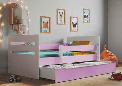 Bjird Kinderbett »Tomi 140x80 160x80 180x80«, mit Rausfallschutz Schubalde und Lattenrost für Mädchen und Junge