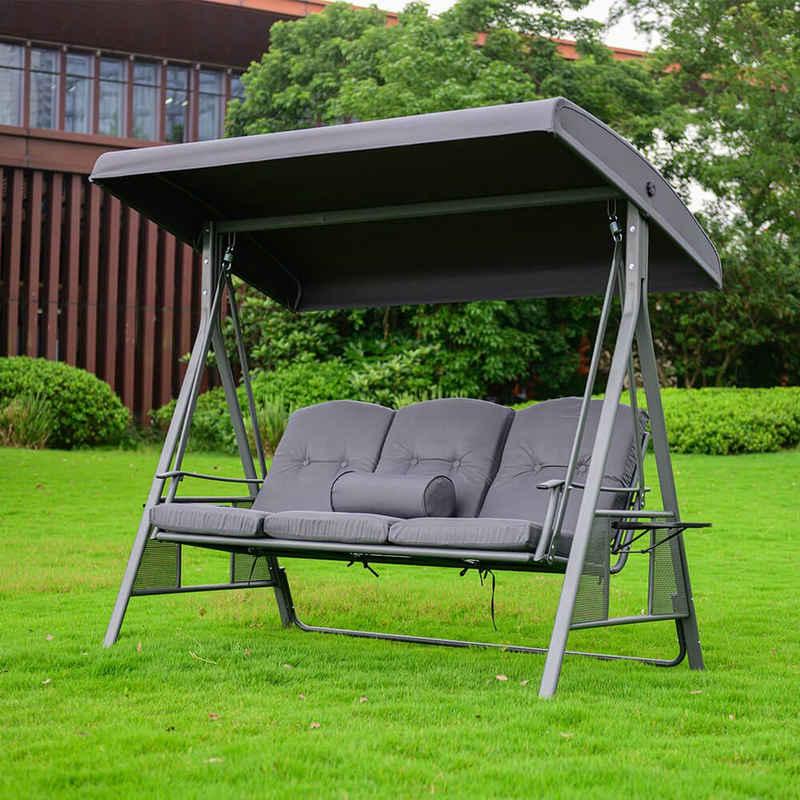 HOME DELUXE Hollywoodschaukel »DESCANSO«, inkl. Sitz- und Rückenkissen - pulverbeschichtet - B/H/L 115cm x 195cm x 198cm I Gartenliege Gartenlounge Schaukelliege