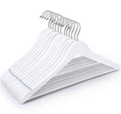 Homewit Kleiderbügel »12 Weiß Holzbügel«, (Packung, 12-tlg), Holzkleiderbügel-Set mit Hosenstange
