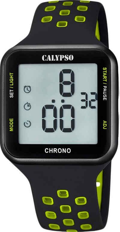 CALYPSO WATCHES Digitaluhr »UK5748/6 Calypso Unisex Uhr K5748/6 Kunststoffband«, (Digitaluhr), Damen, Herren Armbanduhr eckig, Kunststoff, PUarmband schwarz, grün, Fashion