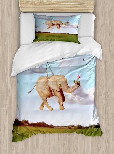 Bettwäsche »Top Qualität Weich und Warm 3 Teiligen Bettbezug mit 1 Kissenbezüge«, Abakuhaus, Elefant Romantischer Tierballon