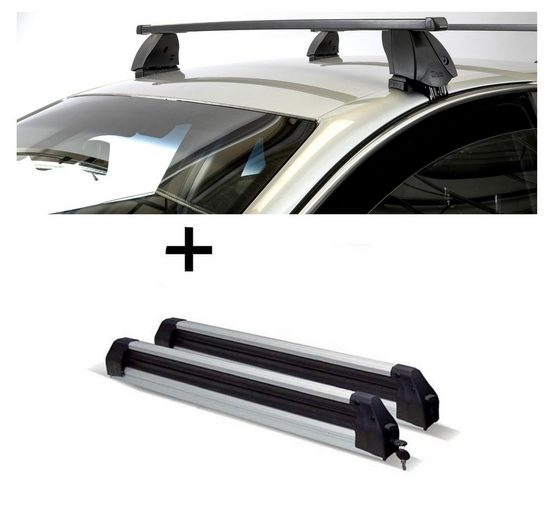VDP Fahrradträger, Skiträger Silver Ice ausziehbar + Dachträger K1 MEDIUM kompatibel mit Opel Corsa (D) (5Türer) 11-14