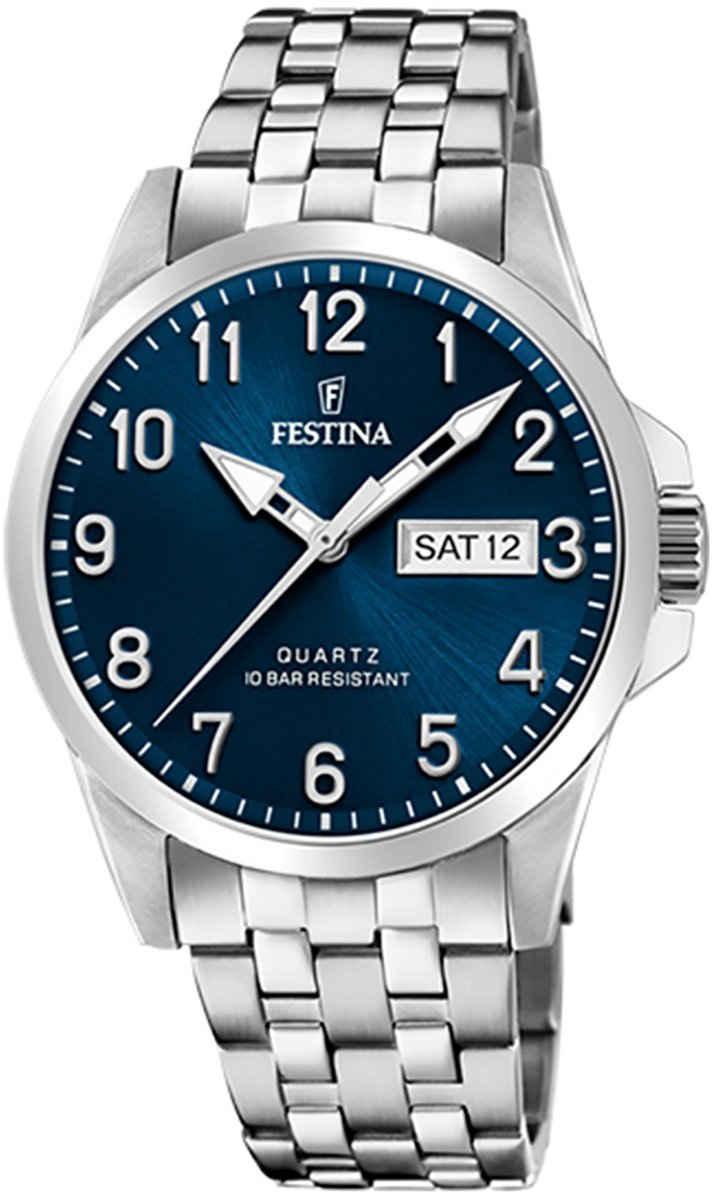 Festina Quarzuhr »UF20357/C Festina Herren Uhr F20357/C Edelstahl«, (Analoguhr), Herren Armbanduhr rund, Edelstahlarmband silber
