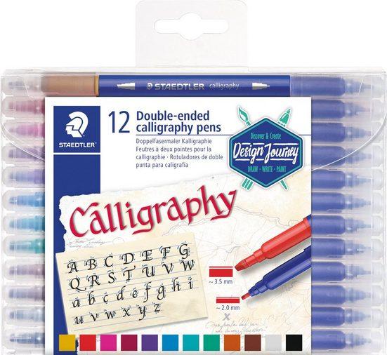 STAEDTLER Faserstift »Doppelfasermaler Kalligraphie«, 12 Stück
