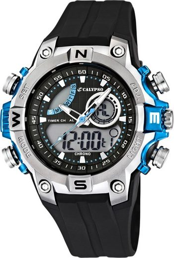 CALYPSO WATCHES Quarzuhr »UK5586/2 Calypso Jugend Uhr K5586/2 Kunststoffband«, (Analog-Digitaluhr), Jugend Armbanduhr rund, Kautschukarmband schwarz, Sport