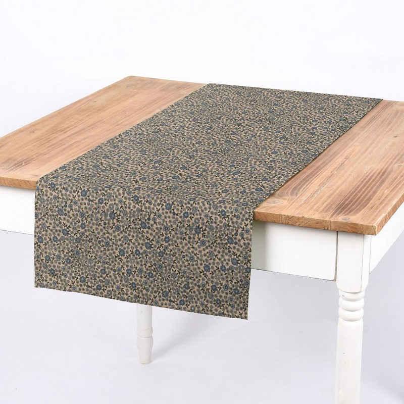 SCHÖNER LEBEN. Tischband »SCHÖNER LEBEN. Tischläufer Leinenlook Sweet Daisy Allover Blümchen natur blau 40x160cm«, handmade