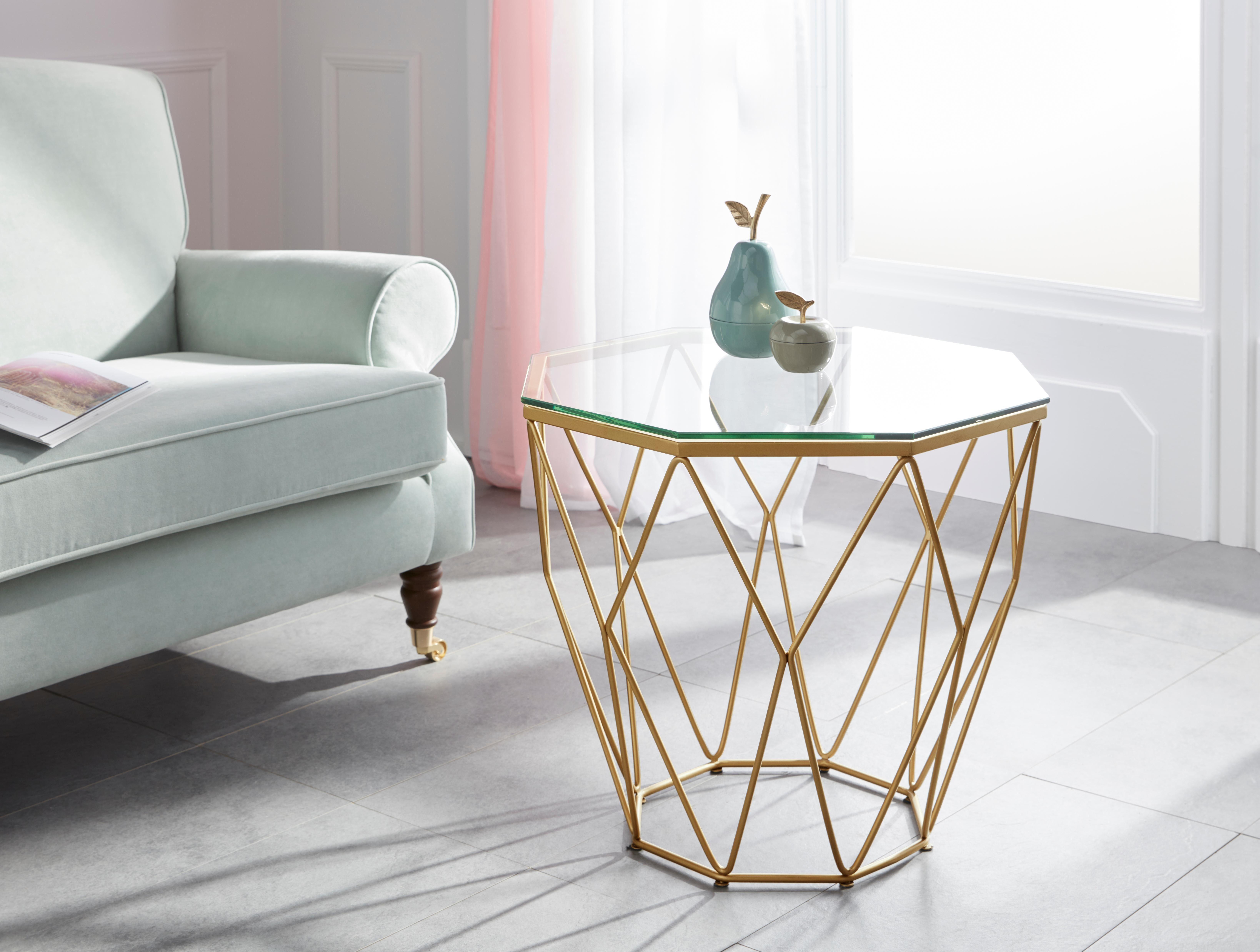 Guido Maria Kretschmer Home&Living Beistelltisch »Caen«, mit Glasplatte und Metall, Breite 60 cm online kaufen   OTTO