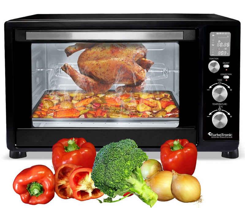 TurboTronic by Z-Line Minibackofen Digitaler Minibackofen (45L) mit Umluft, 2200W, Dörrer, Pizzaofen, Grill, Toaster, Drehspieß