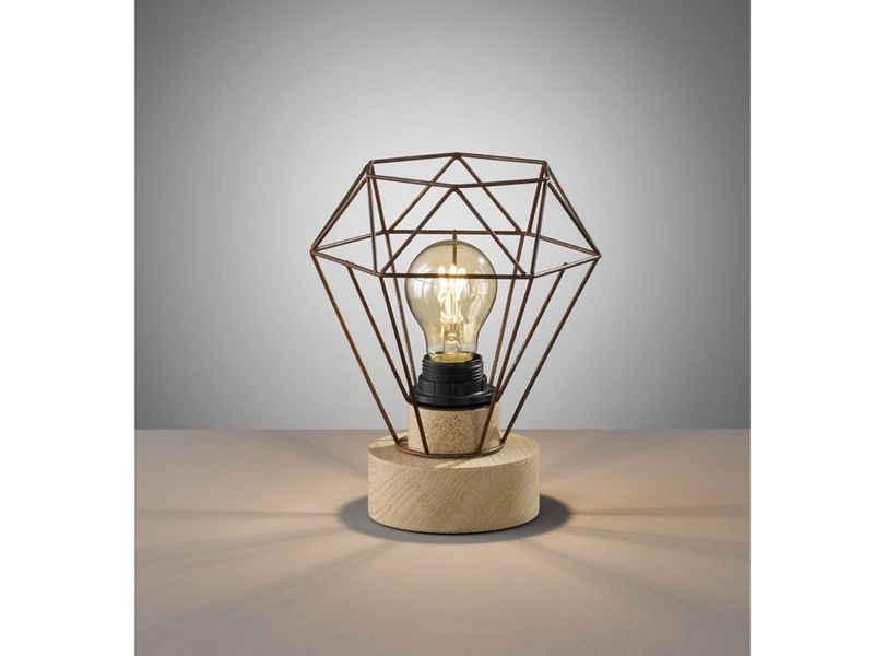 FHL easy! LED Tischleuchte, ausgefallene Vintage Gitterlampe Holz-Optik Rost – kleine Industrial Design-Lampe für die Fensterbank & Flurbeleuchtung