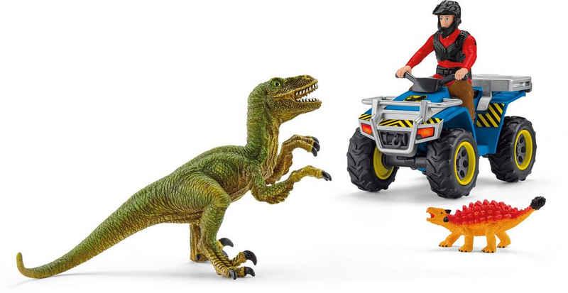 Schleich® Spielzeug-Quad »Dinosaurs, Flucht auf Quad vor Velociraptor (41466)«, (Set), Made in Europe