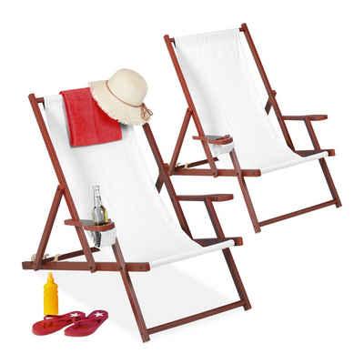relaxdays Gartenliege »Liegestuhl Holz Stoff 2er Set«