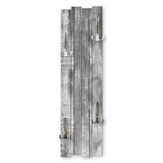 Kreative Feder Wandgarderobe »Altes Holz Grau«, Wandgarderobe aus MDF mit 4 Haken, ca. 100x30cm, Wandbild, Holz, Wanddeko, Holzstruktur, Holzoptik, WGH018
