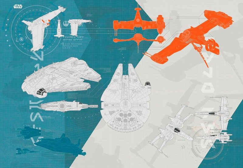 Komar Fototapete »Star Wars – Technical Plan«, glatt, bedruckt, Comic, (Set), ausgezeichnet lichtbeständig