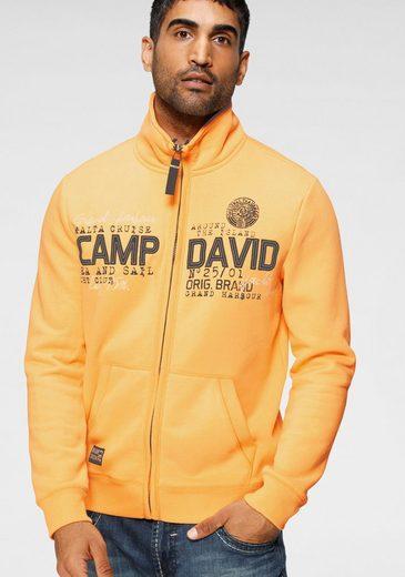 CAMP DAVID Sweatjacke mit markanter Logo-Applikation