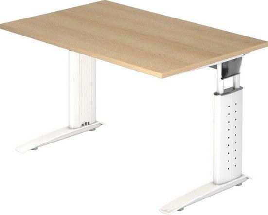 bümö Schreibtisch »OM-US12-W«, höhenverstellbar - Rechteck: 120x80 cm - Gestell: Weiß, Dekor: Eiche